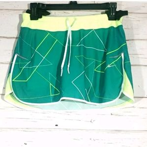 Nike dri fit small Skort green with lime green wai